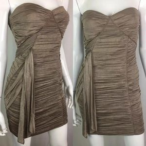 Bebe Taupe Ruched Draped Strapless Bodycon Dress